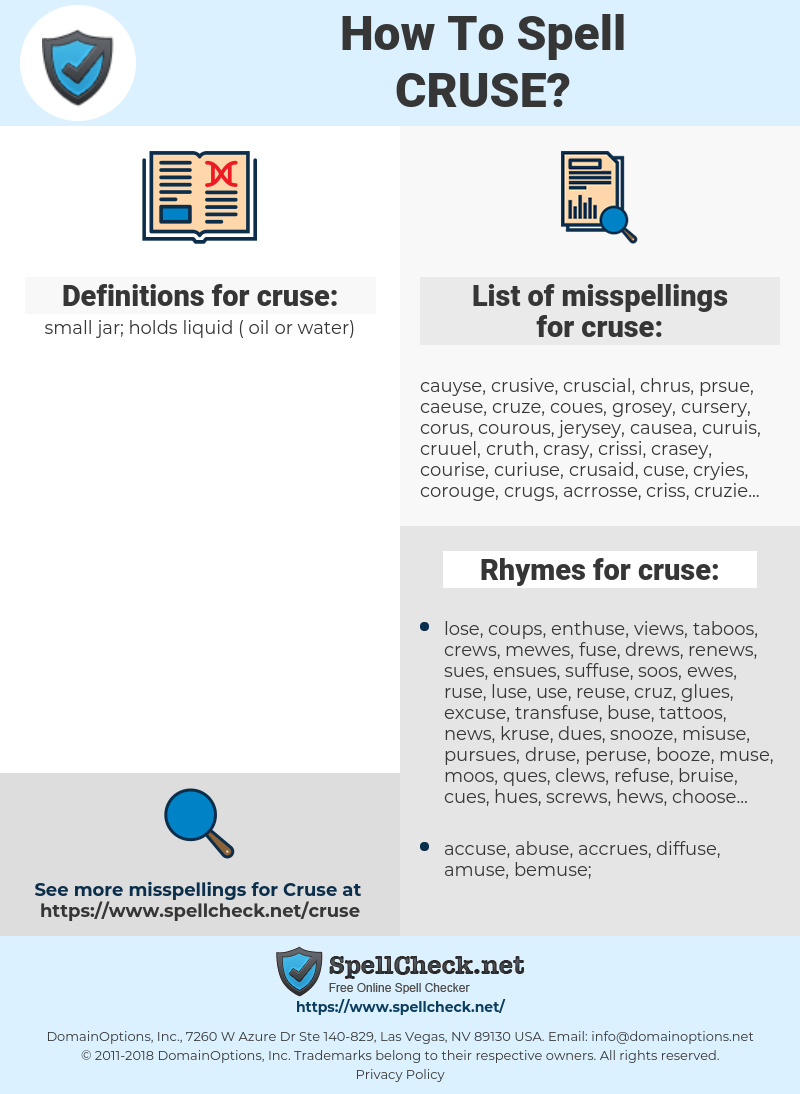 cruse, spellcheck cruse, how to spell cruse, how do you spell cruse, correct spelling for cruse
