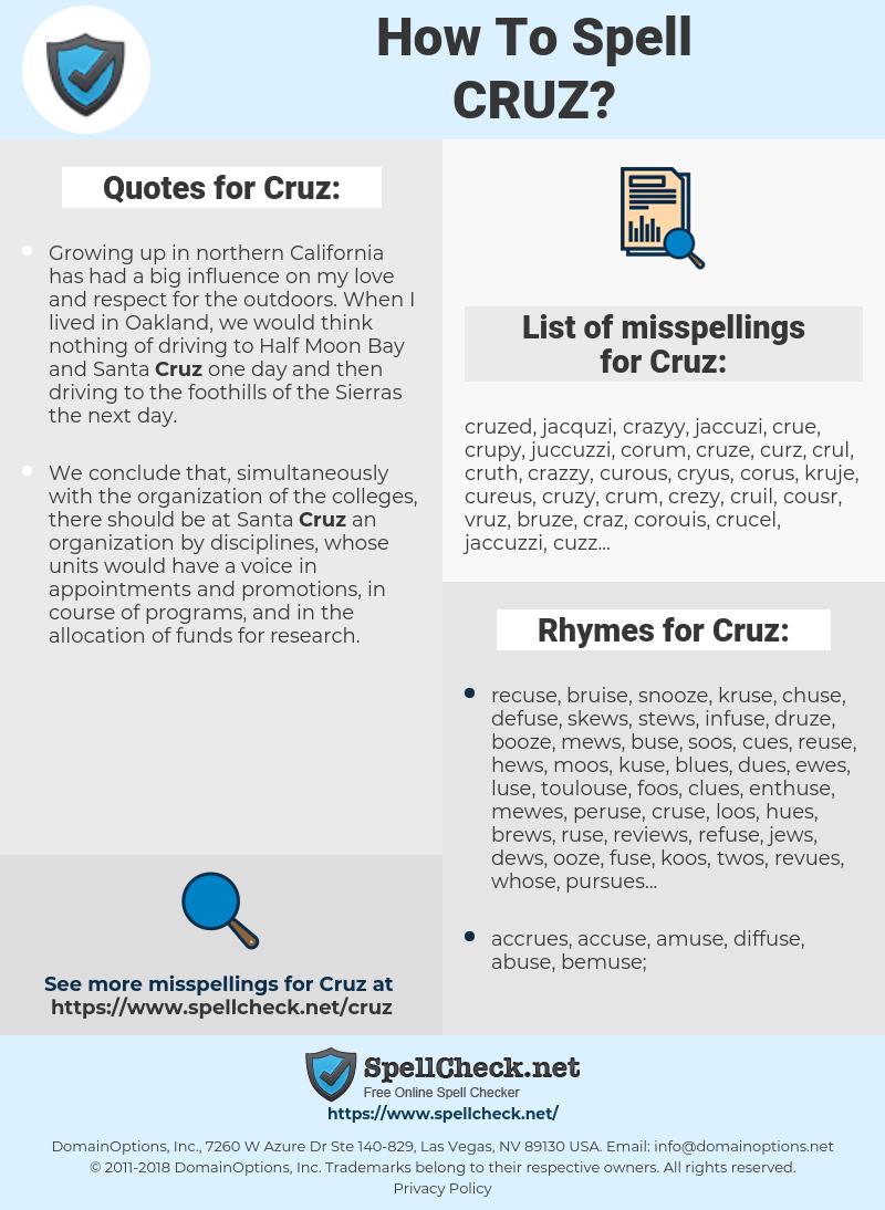 Cruz, spellcheck Cruz, how to spell Cruz, how do you spell Cruz, correct spelling for Cruz