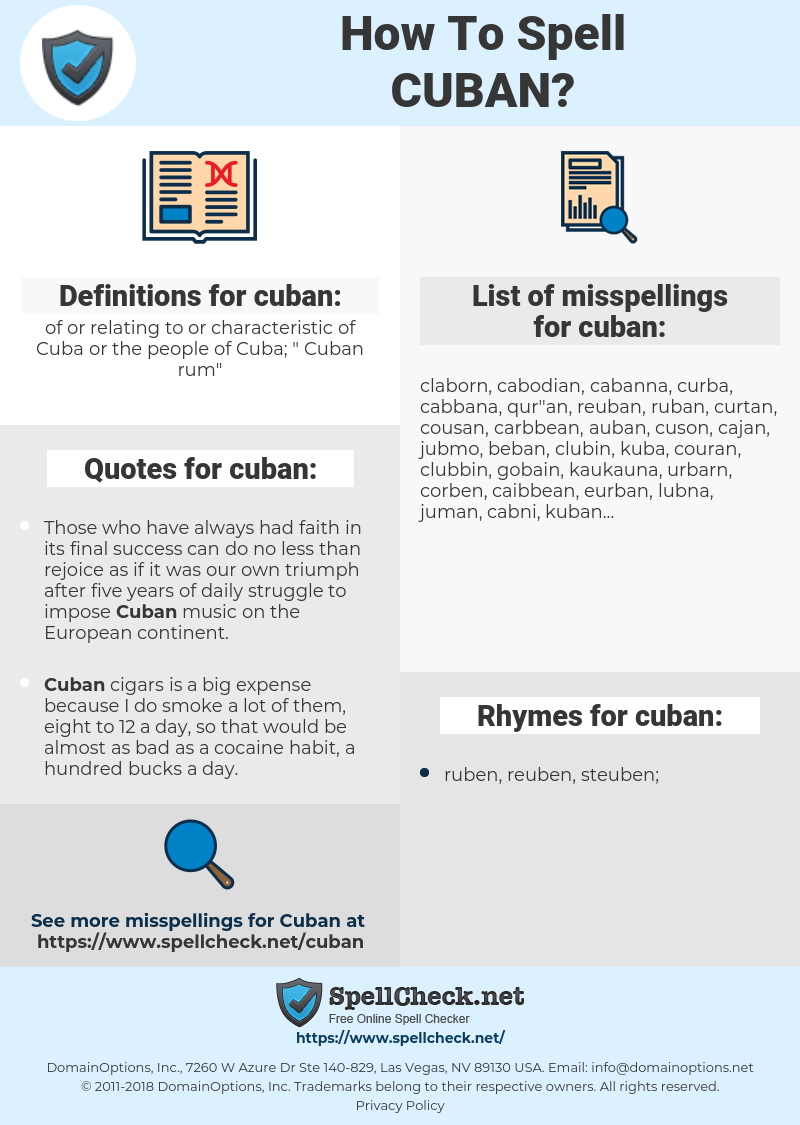 cuban, spellcheck cuban, how to spell cuban, how do you spell cuban, correct spelling for cuban