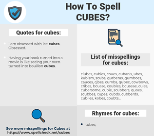 cubes, spellcheck cubes, how to spell cubes, how do you spell cubes, correct spelling for cubes