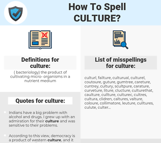 culture, spellcheck culture, how to spell culture, how do you spell culture, correct spelling for culture