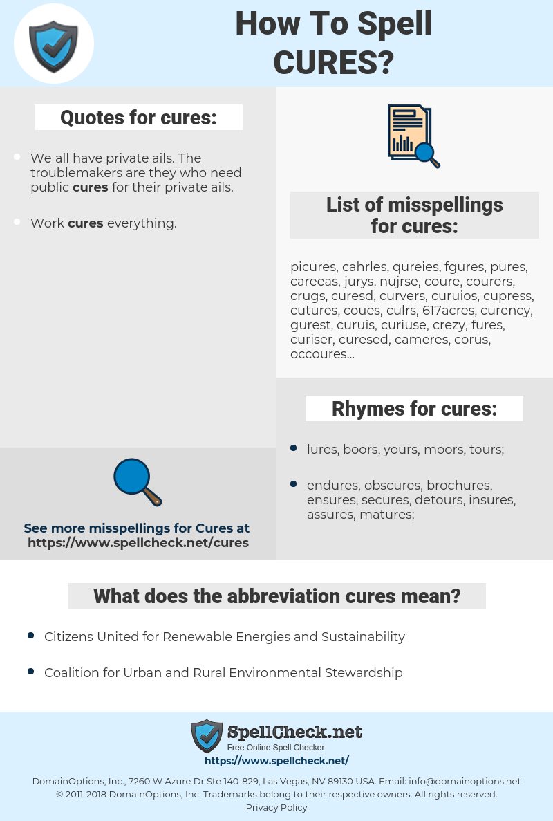 cures, spellcheck cures, how to spell cures, how do you spell cures, correct spelling for cures