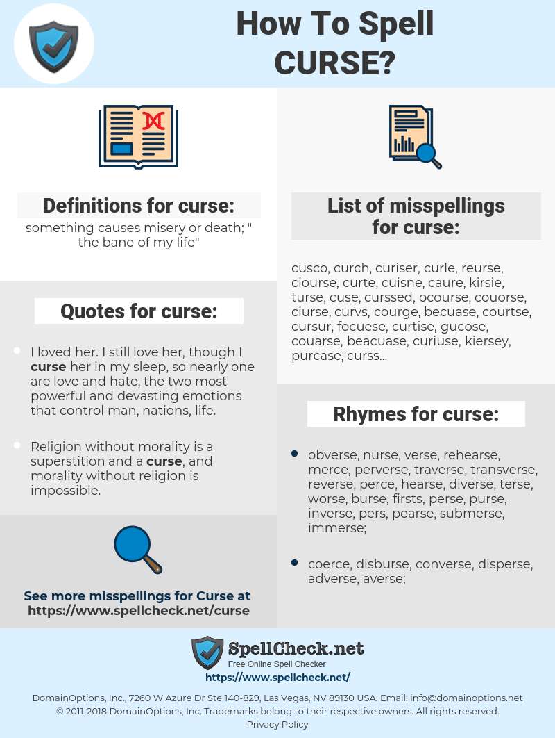curse, spellcheck curse, how to spell curse, how do you spell curse, correct spelling for curse