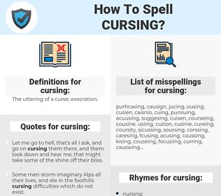 cursing, spellcheck cursing, how to spell cursing, how do you spell cursing, correct spelling for cursing