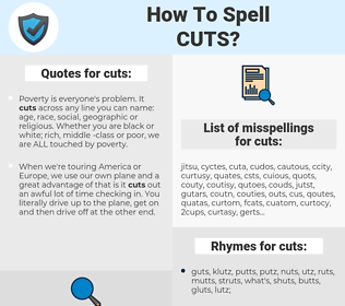 cuts, spellcheck cuts, how to spell cuts, how do you spell cuts, correct spelling for cuts
