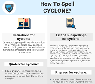cyclone, spellcheck cyclone, how to spell cyclone, how do you spell cyclone, correct spelling for cyclone