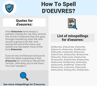 d'oeuvres, spellcheck d'oeuvres, how to spell d'oeuvres, how do you spell d'oeuvres, correct spelling for d'oeuvres