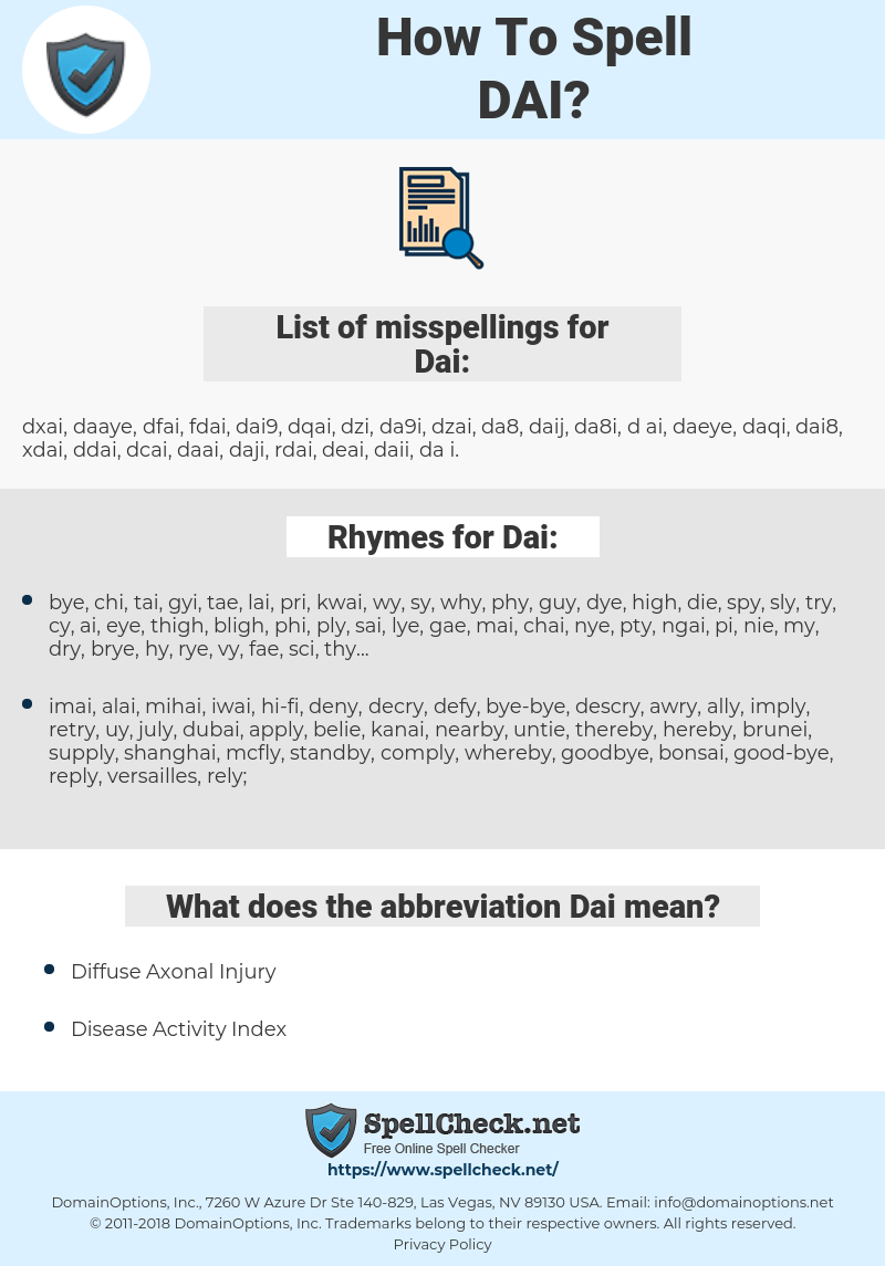 Dai, spellcheck Dai, how to spell Dai, how do you spell Dai, correct spelling for Dai