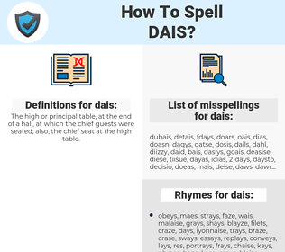dais, spellcheck dais, how to spell dais, how do you spell dais, correct spelling for dais