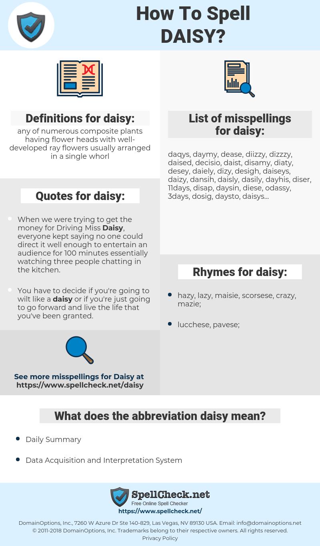 daisy, spellcheck daisy, how to spell daisy, how do you spell daisy, correct spelling for daisy
