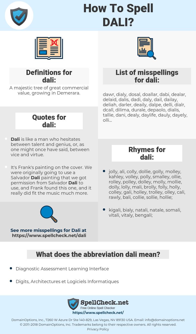 dali, spellcheck dali, how to spell dali, how do you spell dali, correct spelling for dali