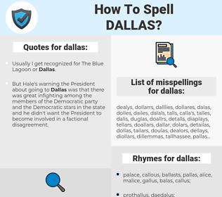dallas, spellcheck dallas, how to spell dallas, how do you spell dallas, correct spelling for dallas