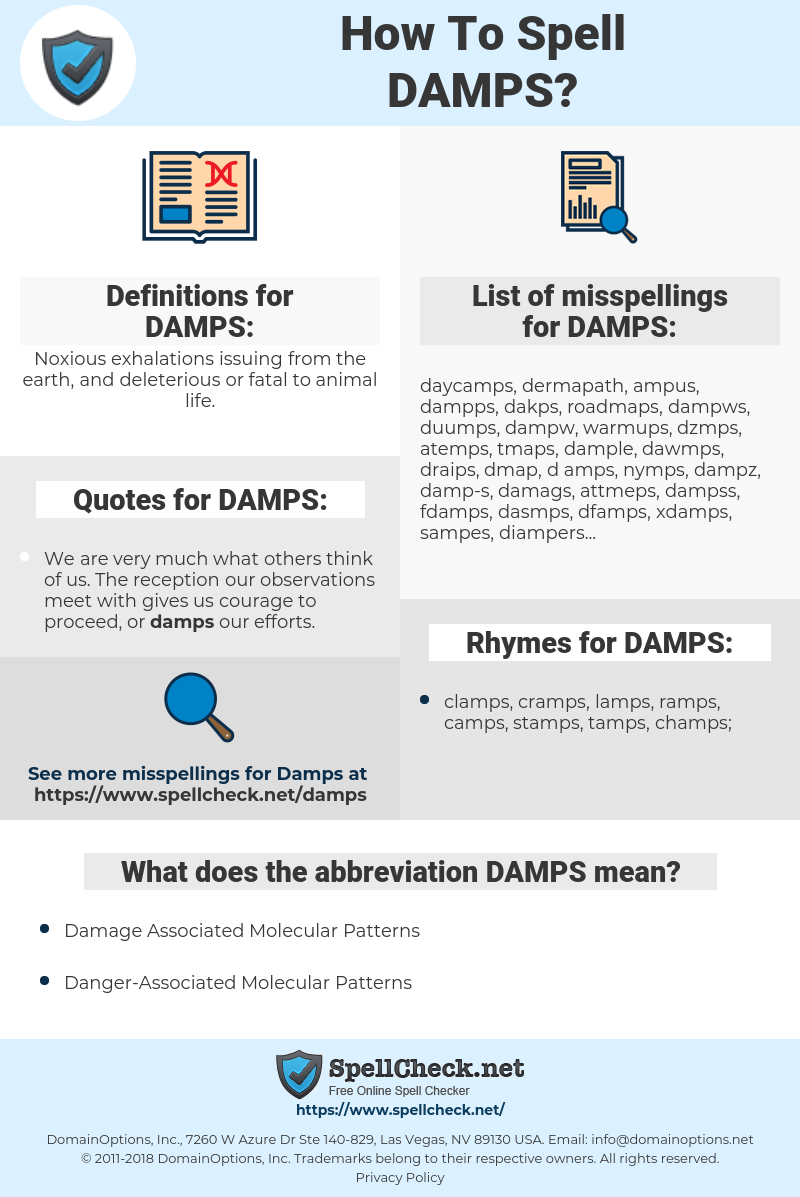 DAMPS, spellcheck DAMPS, how to spell DAMPS, how do you spell DAMPS, correct spelling for DAMPS