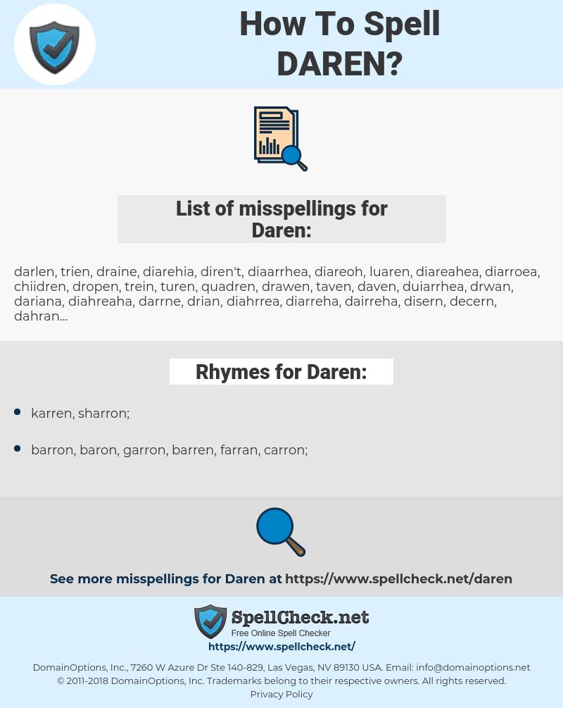 Daren, spellcheck Daren, how to spell Daren, how do you spell Daren, correct spelling for Daren