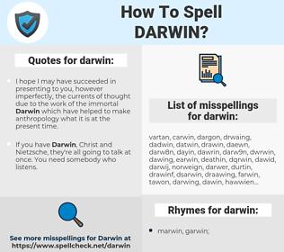 darwin, spellcheck darwin, how to spell darwin, how do you spell darwin, correct spelling for darwin