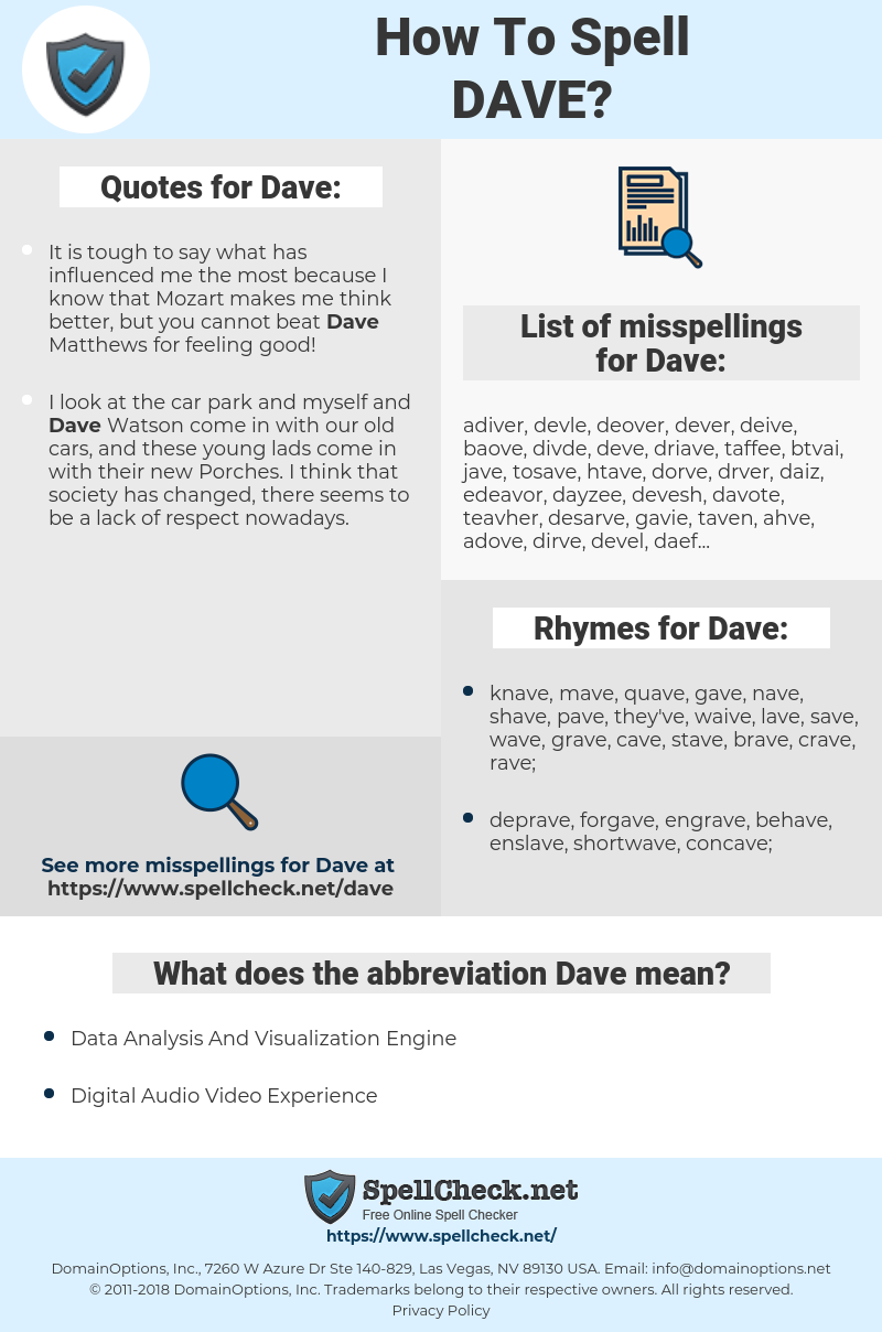 Dave, spellcheck Dave, how to spell Dave, how do you spell Dave, correct spelling for Dave