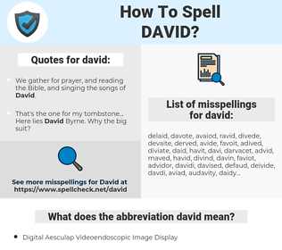david, spellcheck david, how to spell david, how do you spell david, correct spelling for david