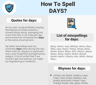 days, spellcheck days, how to spell days, how do you spell days, correct spelling for days