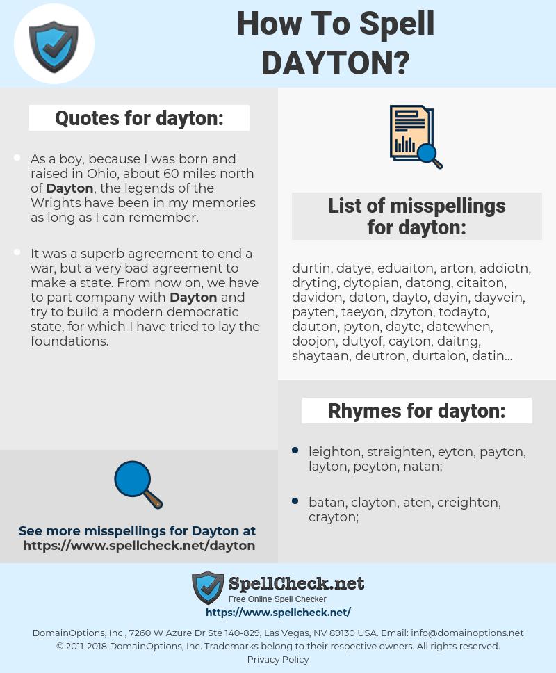 dayton, spellcheck dayton, how to spell dayton, how do you spell dayton, correct spelling for dayton