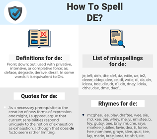 de, spellcheck de, how to spell de, how do you spell de, correct spelling for de