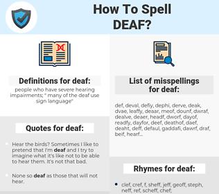 deaf, spellcheck deaf, how to spell deaf, how do you spell deaf, correct spelling for deaf