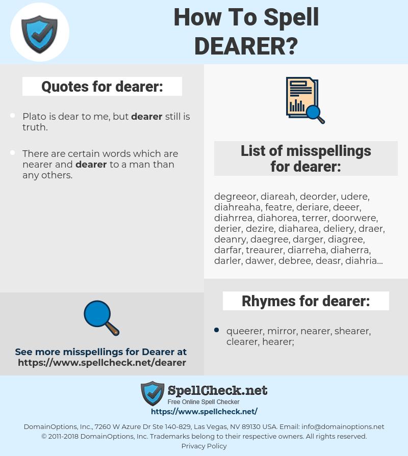 dearer, spellcheck dearer, how to spell dearer, how do you spell dearer, correct spelling for dearer