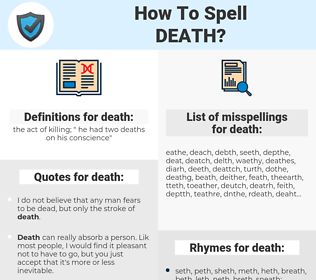 death, spellcheck death, how to spell death, how do you spell death, correct spelling for death