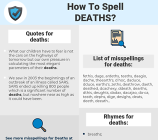 deaths, spellcheck deaths, how to spell deaths, how do you spell deaths, correct spelling for deaths