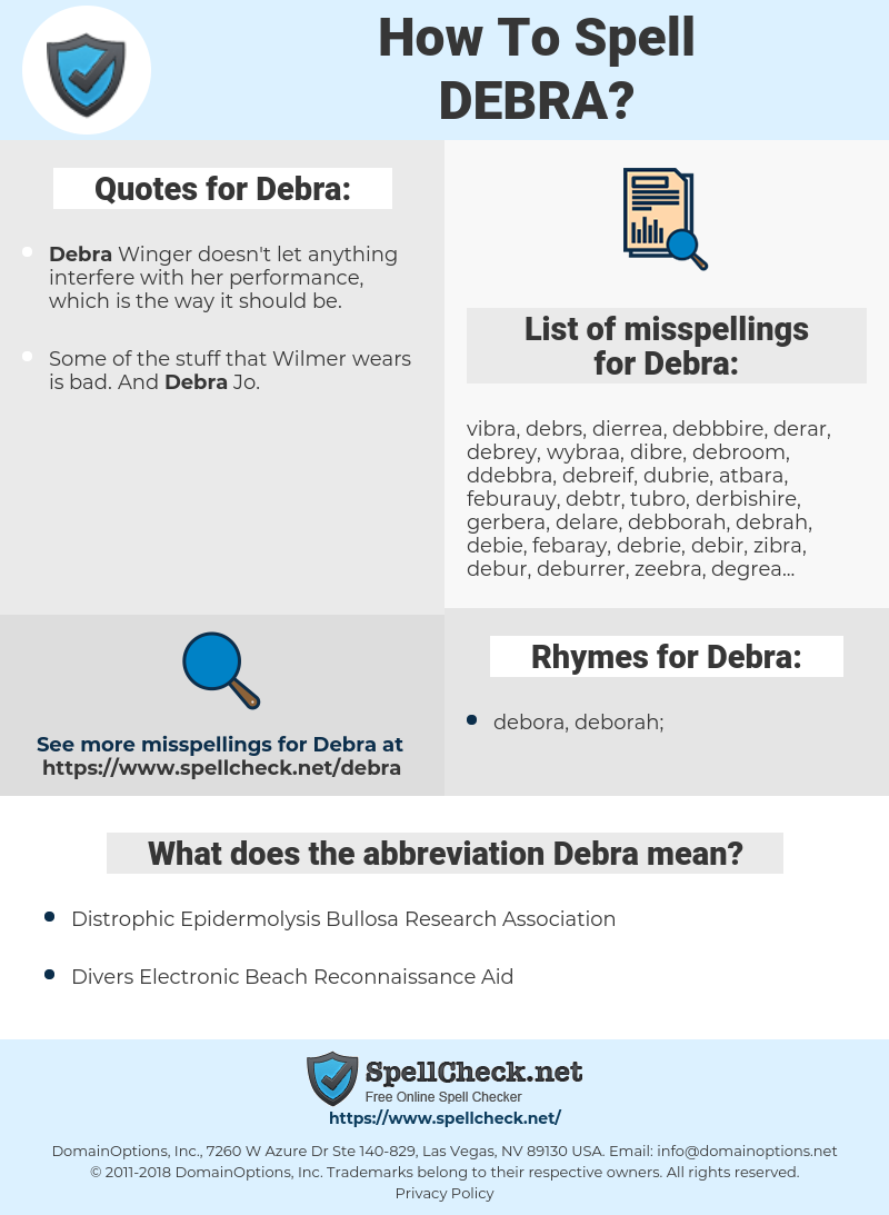 Debra, spellcheck Debra, how to spell Debra, how do you spell Debra, correct spelling for Debra