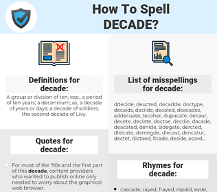 decade, spellcheck decade, how to spell decade, how do you spell decade, correct spelling for decade
