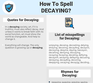 Decaying, spellcheck Decaying, how to spell Decaying, how do you spell Decaying, correct spelling for Decaying