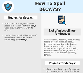 decays, spellcheck decays, how to spell decays, how do you spell decays, correct spelling for decays