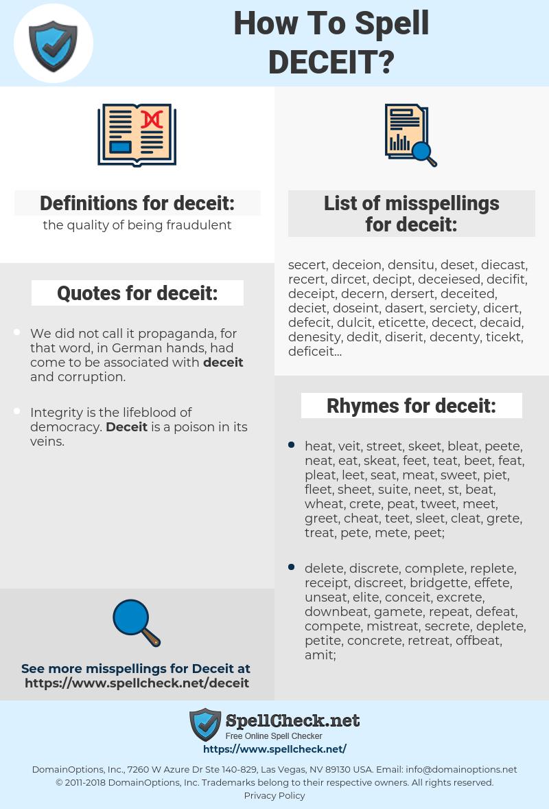 deceit, spellcheck deceit, how to spell deceit, how do you spell deceit, correct spelling for deceit