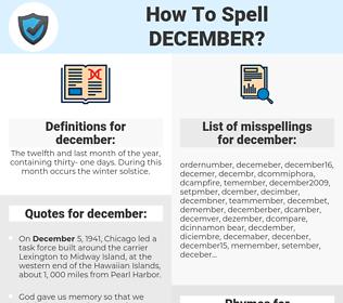 december, spellcheck december, how to spell december, how do you spell december, correct spelling for december