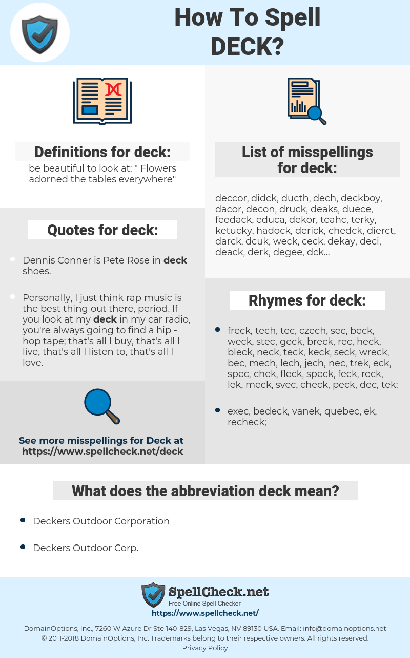 deck, spellcheck deck, how to spell deck, how do you spell deck, correct spelling for deck