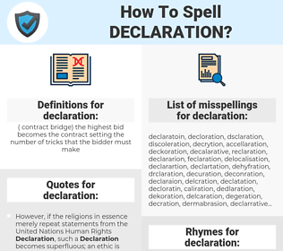 declaration, spellcheck declaration, how to spell declaration, how do you spell declaration, correct spelling for declaration