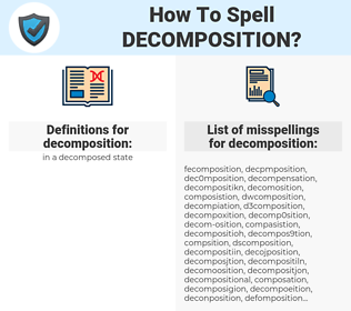 decomposition, spellcheck decomposition, how to spell decomposition, how do you spell decomposition, correct spelling for decomposition