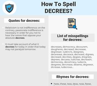 decrees, spellcheck decrees, how to spell decrees, how do you spell decrees, correct spelling for decrees