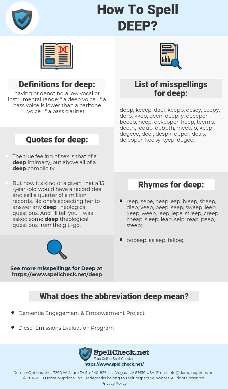 deep, spellcheck deep, how to spell deep, how do you spell deep, correct spelling for deep