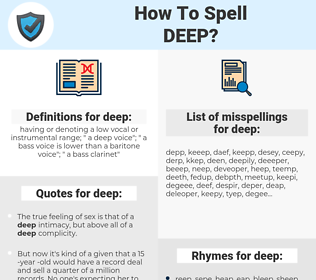 deep, spellcheck deep, how to spell deep, how do you spell deep, correct spelling for deep