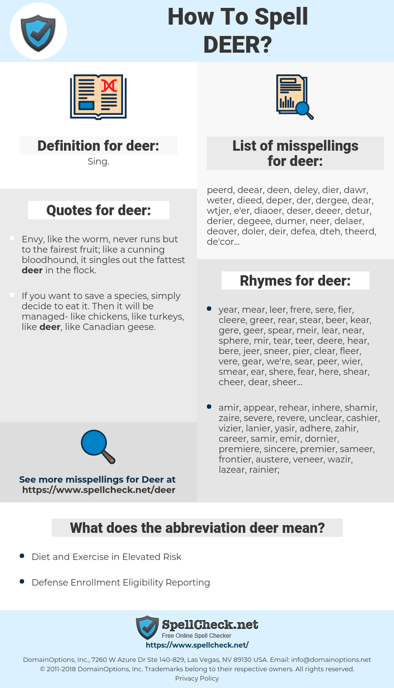 deer, spellcheck deer, how to spell deer, how do you spell deer, correct spelling for deer
