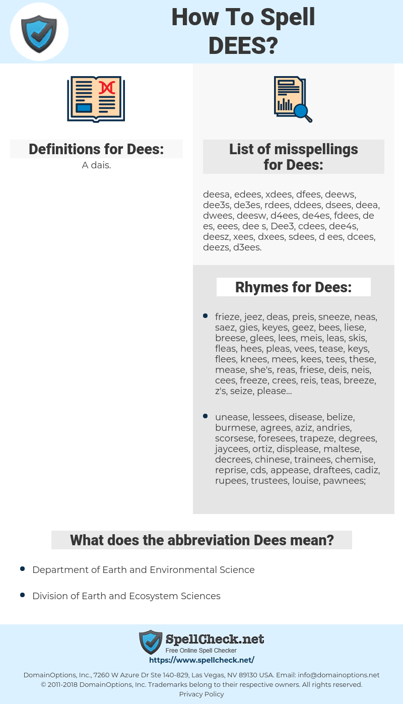 Dees, spellcheck Dees, how to spell Dees, how do you spell Dees, correct spelling for Dees