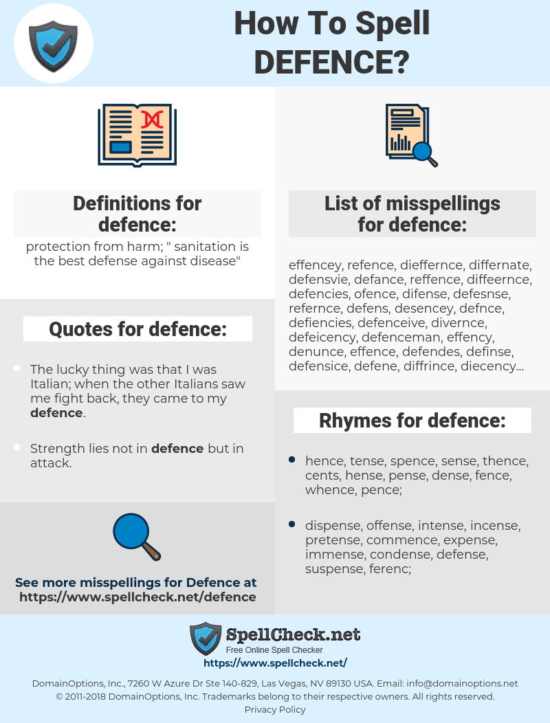 defence, spellcheck defence, how to spell defence, how do you spell defence, correct spelling for defence