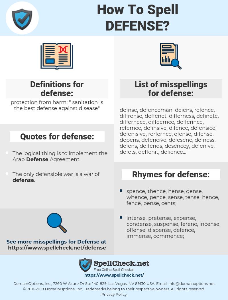 defense, spellcheck defense, how to spell defense, how do you spell defense, correct spelling for defense