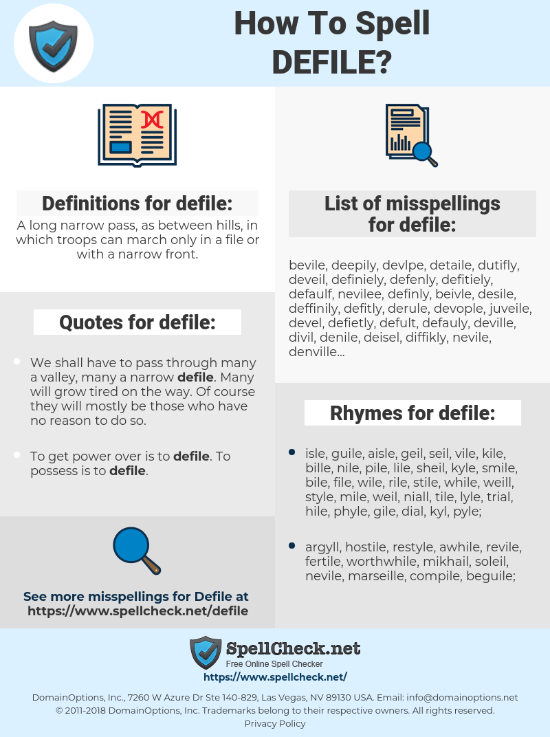 defile, spellcheck defile, how to spell defile, how do you spell defile, correct spelling for defile