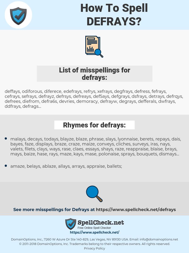 defrays, spellcheck defrays, how to spell defrays, how do you spell defrays, correct spelling for defrays