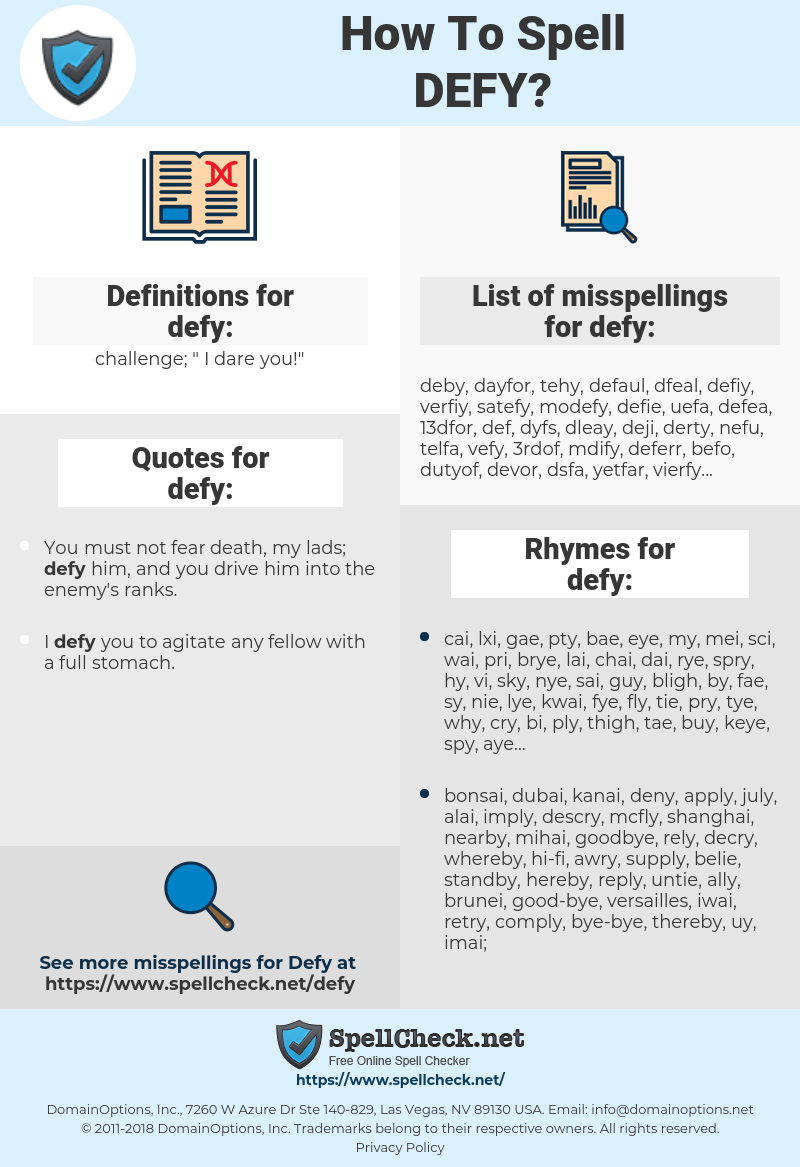 defy, spellcheck defy, how to spell defy, how do you spell defy, correct spelling for defy