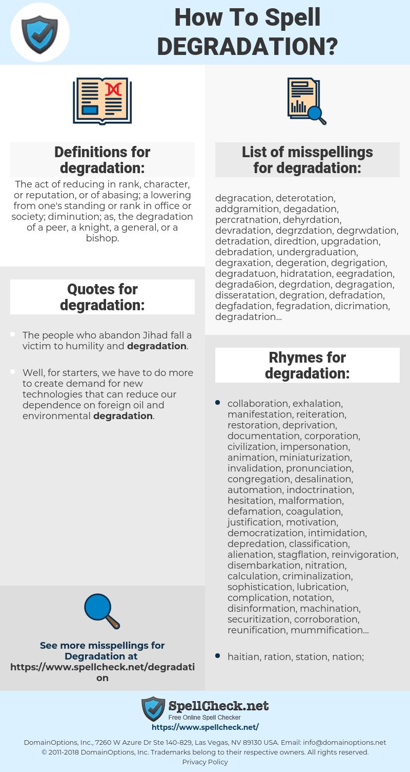 degradation, spellcheck degradation, how to spell degradation, how do you spell degradation, correct spelling for degradation