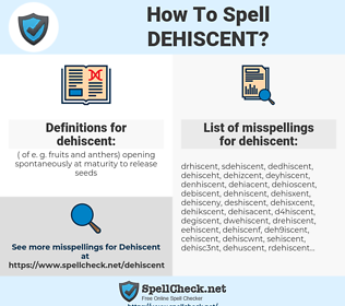 dehiscent, spellcheck dehiscent, how to spell dehiscent, how do you spell dehiscent, correct spelling for dehiscent
