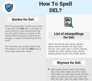 Del, spellcheck Del, how to spell Del, how do you spell Del, correct spelling for Del